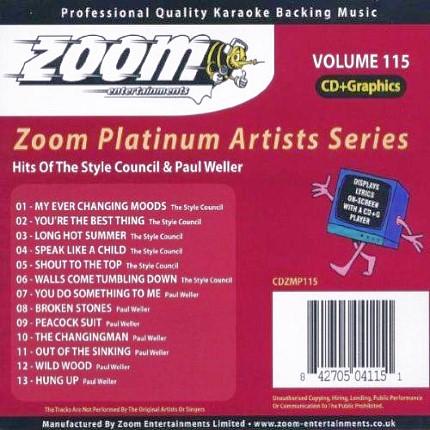 Zoom Karaoke Platinum Artists Vol. 115 CD+G -Front