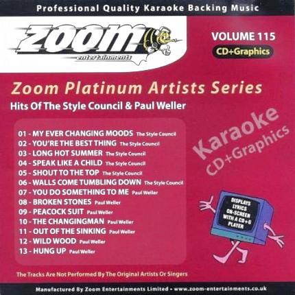 Zoom Karaoke Platinum Artists Vol. 115 CD+G -Rueckseite