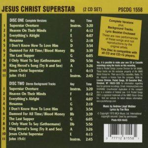 Jesus Christ Superstar - Karaoke Playbacks - PSCDG 1558 - CD-Rueckseite