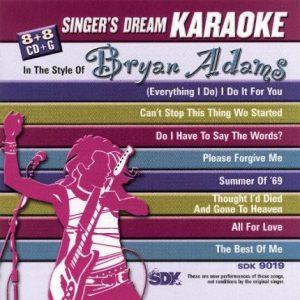 Bryan Adams - Karaoke Playbacks - SDK 9019 - CD-Front-Bild