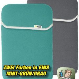 Muvit Reversible Neopren Sleeve für Tablets bis 10,2 Zoll - Mintgrün-Grau
