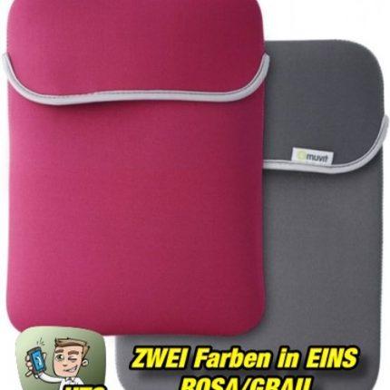 Muvit-Reversible-Neopren-Sleeve-für-Tablets-bis-102-Zoll-Rosa-Grau