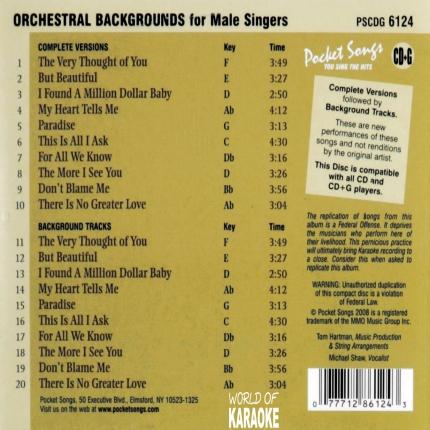 Karaoke Playbacks – PSCD 6124 – Orchestral Backgrounds Nat King Cole - Rückseite