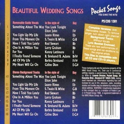 Karaoke Playbacks – PSCDG 1301 – SING BEAUTIFUL WEDDING SONGS - Rückseite CD